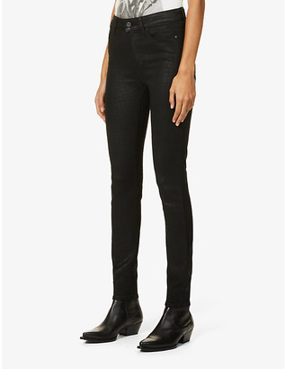Paige Hoxton Ultra Skinny croc-print skinny high-rise stretch-denim jeans