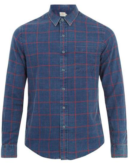 Faherty Ventura windowpane-plaid cotton shirt