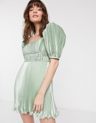 And other stories & bow-back metallic mini dress in sage