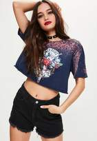 Missguided Navy Guns and Roses Washed Cropped T-Shirt, Black