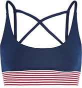 Olympia Activewear - Dion Stripe-trimmed Stretch-jersey Sports Bra - Midnight blue