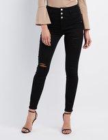 Charlotte Russe Refuge Hi-Waist Skinny Destroyed Jeans