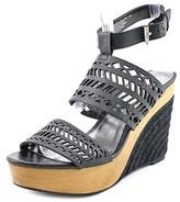 Lauren Ralph Lauren Georgina Open Toe Leather Wedge Sandal.