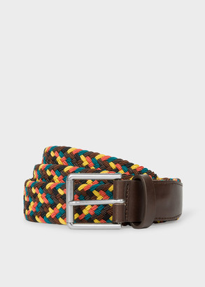 Paul Smith Men's Brown And Yellow Braided Belt
