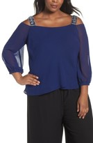 Alex Evenings Plus Size Women's Embellished Cold Shouder Blouse