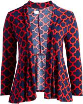 Glam Red & Navy Quatrefoil Open Cardigan - Plus
