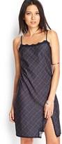Forever 21 FOREVER 21+ Plaid & Lace Slip Dress