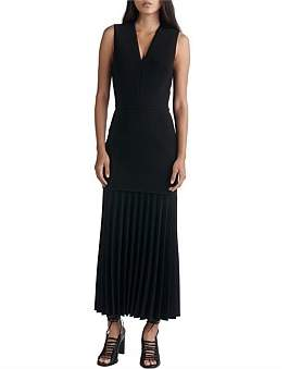 Dion Lee Linear Pleat V-Neck Dress