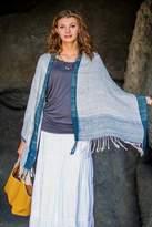 Balinese Handwoven Natural Dyes Sheer Cotton Shawl, 'Sheer Denim Blue'