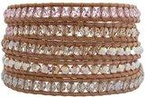 Chan Luu Rosaline Mix Light Rose Pink AB Crystal on Beige Leather Wrap Bracelet bs-2257
