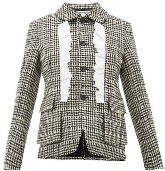 Comme des Garcons Ruffle Trimmed Houndstooth Tweed Jacket - Womens - Black White