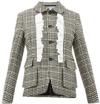 Comme des Garçons Comme des Garçons Ruffle-trimmed Houndstooth Tweed Jacket - Black White