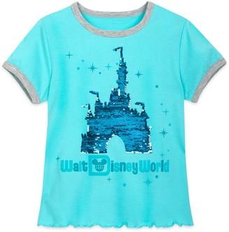 Disney Cinderella Castle Reversible Sequin T-Shirt for Girls Walt World