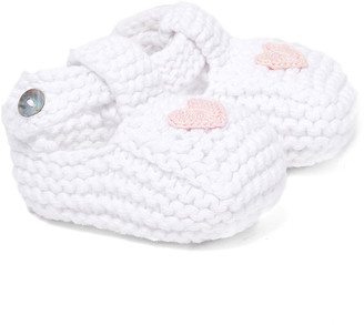 Loralin Design Girls' Infant Booties and Crib Shoes White - White & Pink Heart Booties - Girls