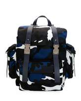 Valentino Garavani Camo-Print Nylon Backpack, Marine Blue