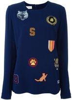 Stella McCartney cat patches jersey top - women - Silk/Spandex/Elastane/Acetate/Viscose - 38