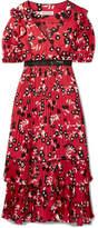 Self-Portrait Guipure Lace-trimmed Floral-print Crepe De Chine Dress - Red