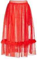 Simone Rocha Women's Marabou Trim Smock Waist Tulle Skirt