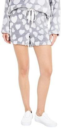 Dylan by True Grit Dream Fleece Love Hearts Shorts (Heather) Women's Clothing