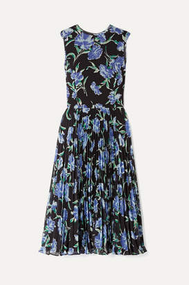 Jason Wu Collection - Pleated Floral-print Chiffon Midi Dress - Black