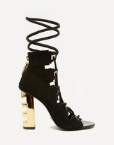 Kat Maconie Betsy Black & Gold Ghillie Multi Lace Heeled Sandals