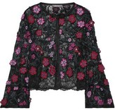 Lela Rose Floral-appliqued Embroidered Chantilly Lace Bolero