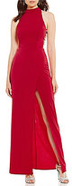 Xtraordinary Mock Neck Rhinestone Side Straps Long Dress