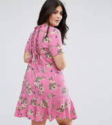 Asos Lace Up Back Tea Dress In Pretty Floral