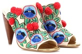 Tory Burch Ellis Embroidered Open-toe Leather Mules