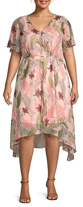Estelle Plus Havana Button-Front Floral Dress