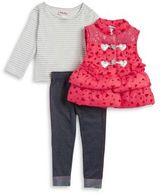 Little Lass Little Girl's Three-Piece Graphic Puffer Vest, Striped Tee and Denim Leggings Set