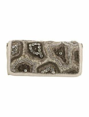 Dries Van Noten Crystal Embellished Eel Clutch Silver