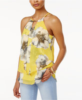 Amy Byer Juniors' Printed Chiffon-Front Top