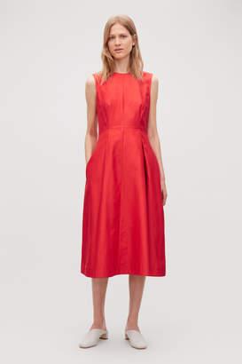 Cos SHAPED A-LINE COTTON-SILK DRESS