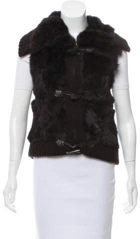 Yves Salomon Fur-Paneled Knit Vest