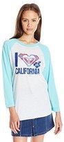 Roxy Juniors Love Paradise California 3/4 Sleeve Tee