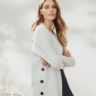 The White Company Button Side Cardigan with Wool , Cloud Marl, Extra Small