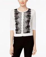 August Silk Contrast Lace-Trim Cardigan
