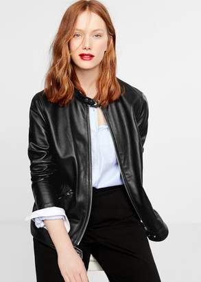 MANGO Violeta BY Leather biker jacket black - XS - Plus sizes