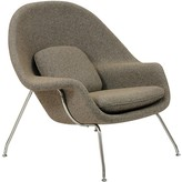 The Well Appointed House Modern Oatmeal Lounge Chair & Ottoman Set With Stainless Steel Legs