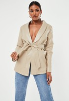 Missguided Stone Faux Leather Belted Jacket