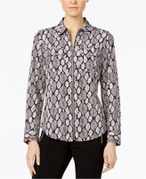 MICHAEL Michael Kors Pelopia Printed Zip-Up Blouse