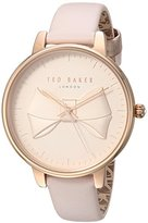 Ted Baker Women's 'BROOK' Quartz Stainless Steel and Leather Casual Watch, Color:Pink (Model: TEC0185001)