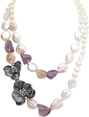 Michael Aram Orchid Silver Ametrine & 7-13Mm Pearl 34In Necklace