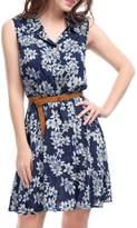 Allegra K Women's Daisy Print Button Closure Upper Belted Shirt Dress Black XS