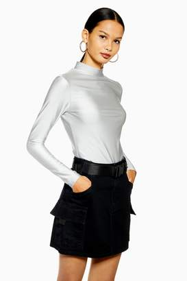 Womens Disco High Neck Top By We Own The Night - Silver