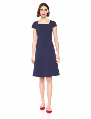 Lark & Ro Women's Cap Sleeve Square Neck Seamed Fit and Flare Dress