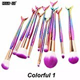New MAANGE 10 pcs 3D Mermaid Brushes Makeup Set Colorful Eyeshadow Kit Cosmetic Tool(Colorful1)