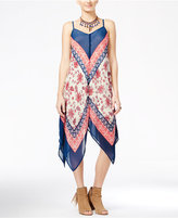 As U Wish Juniors' Printed Asymmetrical-Hem Maxi Dress