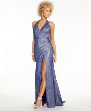 Thumbnail for your product : Blondie Nites Juniors' Metallic Halter Gown